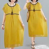 棉麻連身裙~ 2020夏季新款文藝大碼圓領拼接休閒連身裙寬鬆藏肉顯瘦雙層中長裙