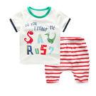 童裝 恐龍短袖上衣+ 紅條短褲哈倫褲 套裝  橘魔法Baby magic  現貨  短袖上衣