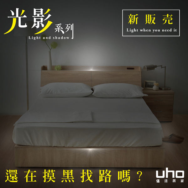 光影系列【UHO】秋原-五尺二件組(床頭箱+收納式床底)-B款