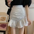 短裙女 白色半身裙女夏季2020新款裙子女夏皺褶高腰A字裙包臀裙魚尾短裙【快速出貨】