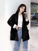 西裝外套 西裝外套女黑色小個子網紅2021春秋新款韓版寬鬆休閒套裝西服上衣 coco