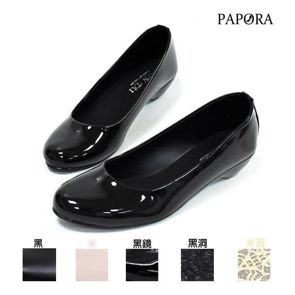 平底包鞋‧上班族最愛素面淑女跟鞋娃娃鞋【K518】黑鏡/米/黑/米洞/黑洞