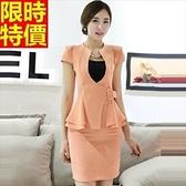 職業套裝OL商務-別緻收腰時尚修身短袖女制服3色67x3【巴黎精品】