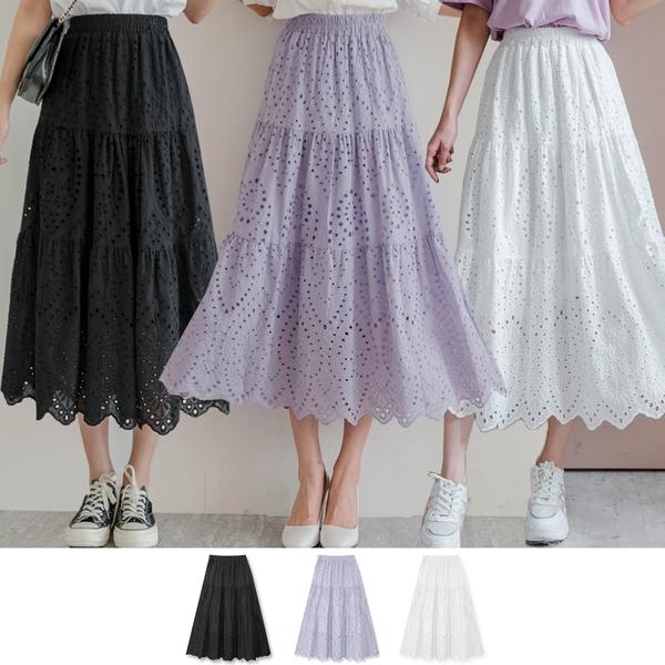MIUSTAR 洞洞刺繡鏤空鬆緊棉麻長裙(共3色)【NJ1689】預購