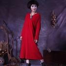 長袖連身裙-V領寬鬆純色針織女長裙4色73vu34【巴黎精品】