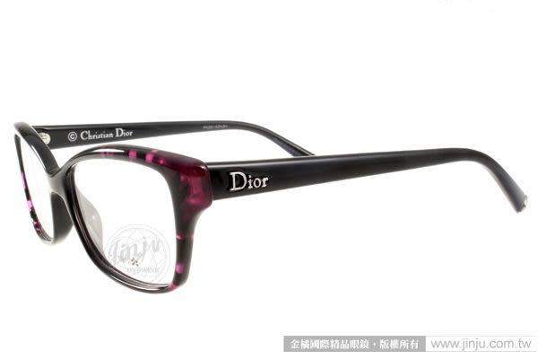 Dior 光學眼鏡 CD3260 EFA (酷黑紫紅) 貓眼繽紛系列 平光鏡框# 金橘眼鏡