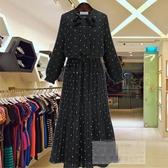大尺碼洋裝女裝 黑色雪紡波點裙 連身裙女 百褶裙子 大尺碼長裙