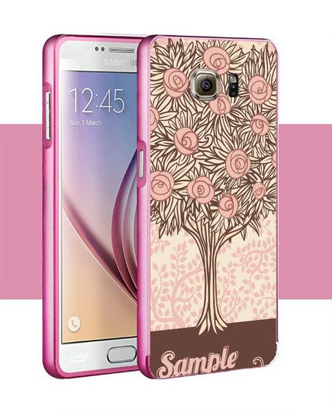 ♥ 俏魔女美人館 ♥Samsung Galaxy S7/s7 Edge {立體浮雕金屬邊框*粉色花樹 }手機殼 手機套 保護殼