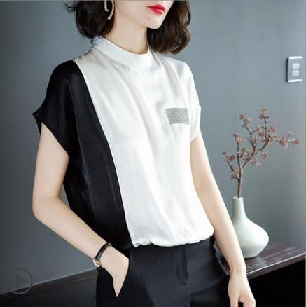2021夏季新款立領雪紡T恤女士短袖洋氣寬鬆拼接小衫時尚百搭上衣 8號店