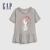 Gap女幼Gap x Disney 迪士尼系列冰雪奇緣棉質短袖T恤551317-石楠灰