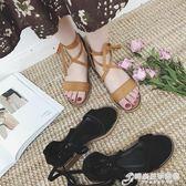 新款交叉綁帶涼鞋女夏學生平底露趾簡約韓版百搭粗跟羅馬涼鞋 時尚芭莎