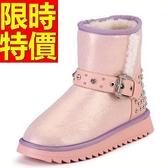 中筒雪靴-厚底綁帶防水真牛皮皮革女靴子4色62p40【巴黎精品】