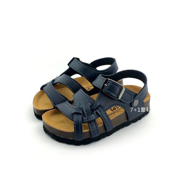中小童 台灣製 專櫃普萊米 交叉紋 休閒涼鞋《7+1童鞋》D126 藍色