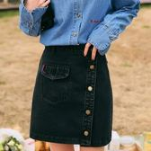 【24H快速出貨】高腰牛仔裙短裙包臀—— 黑色 M碼