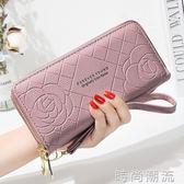 皮夾錢包女簡約錢包女長款手腕包雙拉錬大容量手機錢包卡一體 時尚潮流