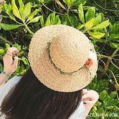 沙灘帽子女夏天出游防曬遮陽帽韓版百搭可折疊花朵森女草帽小清新艾美時尚衣櫥