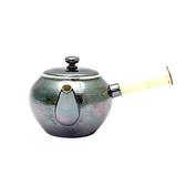 日本銅器【銀川堂】燻銀 橫手急須 0.36L 附濾茶網 銅底鍍銀 橫柄茶壺 古銀色銅壺 鍍銀茶壺