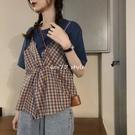 短袖T恤 上衣ins女潮小眾設計感夏裝新款韓版短袖假兩件綁帶格子背心T恤潮 3C數位百貨