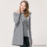 【GIORDANO】女裝保暖搖粒絨收腰中長版連帽外套 - 03 中花灰