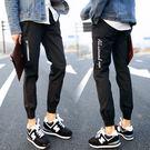 【0427】休閒刺繡運動拉繩薄款縮口褲 運動褲 (黑/M.L.XL.2XL)