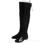 Stuart Weitzman LOWLAND 抽繩麂皮過膝長靴(黑色) 1530352-01