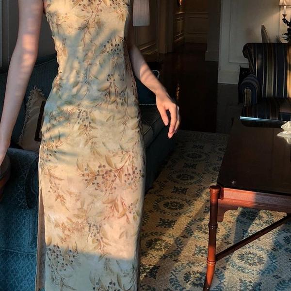 旗袍 Srose 小香風復古改良旗袍式連身裙側開叉休閒女露肩顯瘦中國風 MKS交換禮物