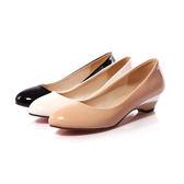 {丁果時尚}大尺碼女鞋34-47►好穿漆皮小坡跟低跟鞋 小清新百搭工作鞋3色