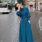 時尚洋裝連衣裙女春秋新款法式復古收腰顯瘦氣質設計感小眾襯衫裙子快速出貨