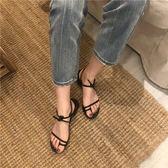 羅馬涼鞋18夏季綁帶涼鞋女學生方跟露趾繫帶羅馬旅游度假 貝芙莉女鞋