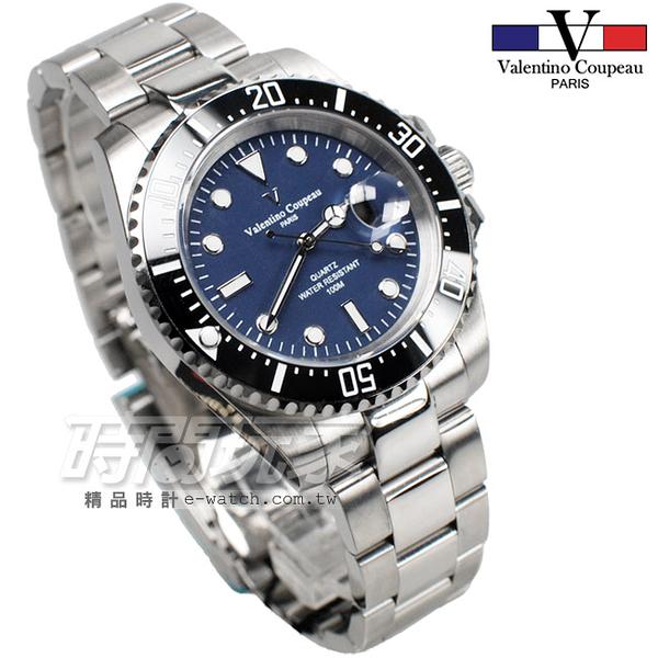 valentino coupeau 范倫鐵諾 夜光時刻 不銹鋼 防水 男錶 黑x藍色面盤 潛水錶 水鬼 石英錶 V61589黑框藍