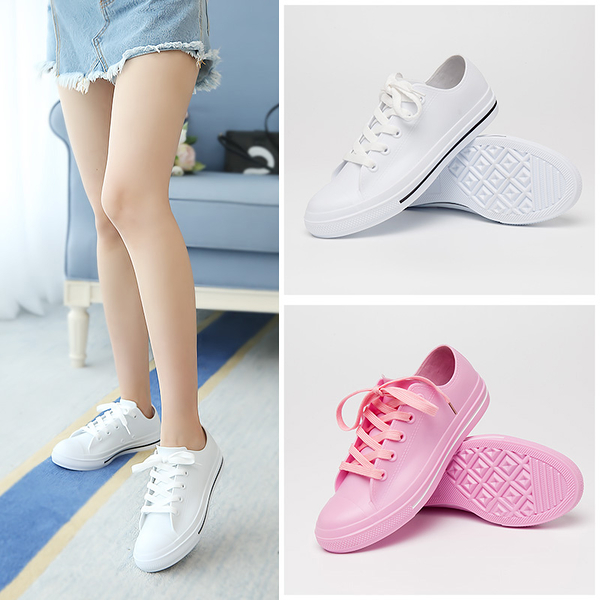 春夏時尚短筒套鞋平底小白鞋休閒雨靴防滑水鞋膠鞋成人雨鞋女潮