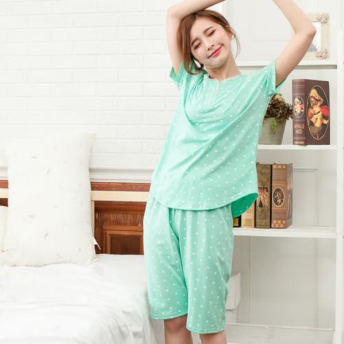 睡衣愛心點點圓領棉質成套休閒服 -綠-波曼妮亞