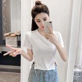 T恤 系帶蝴蝶結 收腰修身純色短款 上衣女裝-2色
