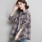 毛呢格子襯衫女2021秋季新款韓版復古港味寬松加厚磨毛襯衣外 快速出貨