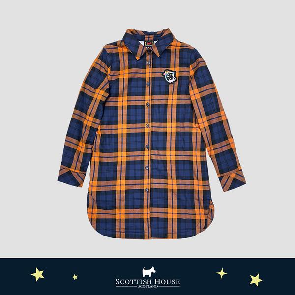 內刷毛長板格子襯衫式洋裝 Scottish House【AJ3106】