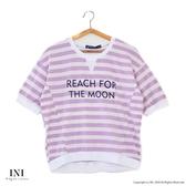 【INI】注目條紋、舒適修飾好感上衣.芋紫色