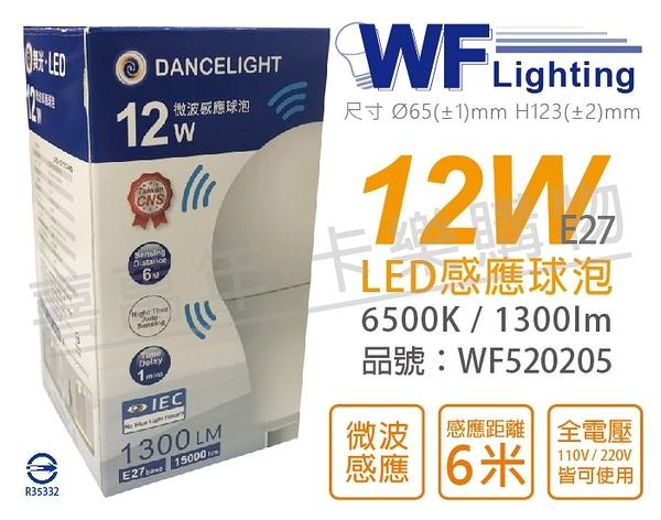 舞光 LED 12W 6500K 白光 E27 全電壓 微波感應球泡 球泡燈 _ WF520205