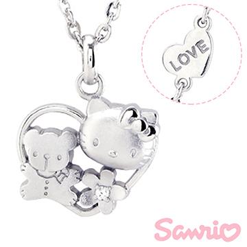 Hello Kitty凱蒂貓-親密玩伴-刻字銀飾項鍊(兒童/成人)