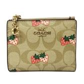 【COACH】C LOGO花卉印花證件鈔票零錢袋短夾(米白/草莓)