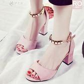 夏季韓版粗跟新款女鞋休閒百搭高跟一字帶扣露趾中空磨砂涼鞋       伊芙莎