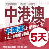 【TEL25】中港澳上網卡 5日 不限流量不降速 4G上網 吃到飽上網SIM卡