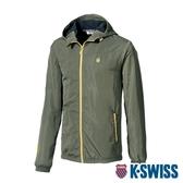 【超取】K-SWISS Fleece Jacket刷毛防風外套-男-軍綠