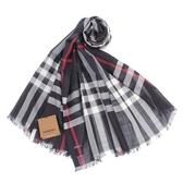 BURBERRY 輕質格紋羊毛真絲披肩圍巾(海軍藍)089543