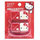 〔小禮堂〕Hello Kitty 造型塑膠彈力髮圈組《2入.紅白.大臉》髮束.髮飾 4589932-60004