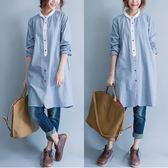 春季新款白色圓翻領彩色紐扣細藍白條紋中長款純棉休閒襯衫裙 週年慶降價