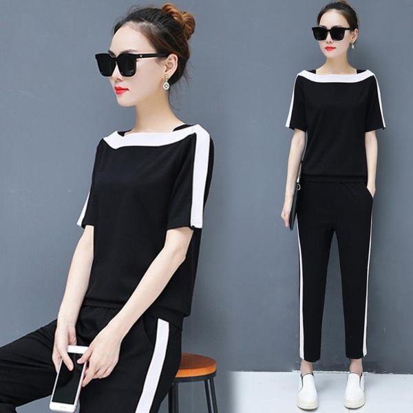 休閒套裝女2018新款時尚潮一字領短袖長褲兩件式 GY1446『寶貝兒童裝』