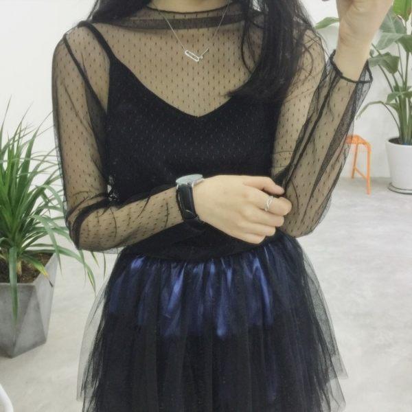 [超豐國際]夏季網紗鏤空修身顯瘦蕾絲衫罩衫套頭長袖上衣女裝打1入