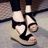松糕底涼鞋 女厚底坡跟大碼鞋【多多鞋包店】z2077