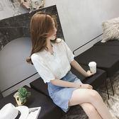 短袖襯衫短袖襯衫女春夏裝新款韓版V領洋氣襯衣女仙女范蕾絲心機上衣 麥吉良品
