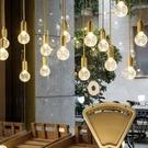 吊燈 北歐現代簡約水晶玻璃吊燈餐廳酒店臥室復式樓梯創意個性LED吊燈(定金鏈接,下標前洽談)